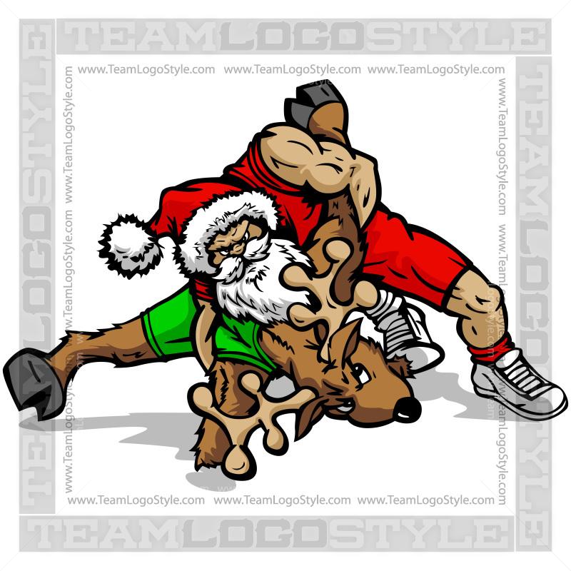Wrestler clipart santa Santa/Reindeer Clipart Vector Wrestling Santa