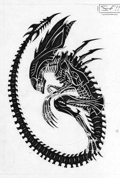Xenomorph clipart dragon Xenomorph Tattoo queen tattoo page