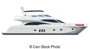 Sailboat clipart speed boat Motor yacht white 1 Vector