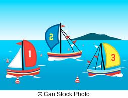 Yacht clipart boat race Three sailing race Yachts on
