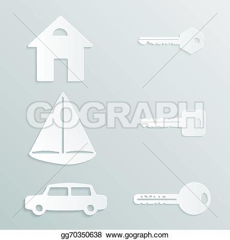 Yacht clipart car House cut paper cut EPS