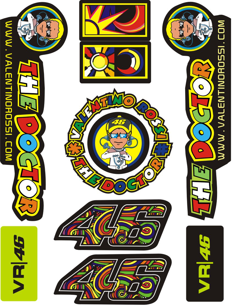 Yamaha clipart motocross helmet Kit Motocross Large Rossi Stickers