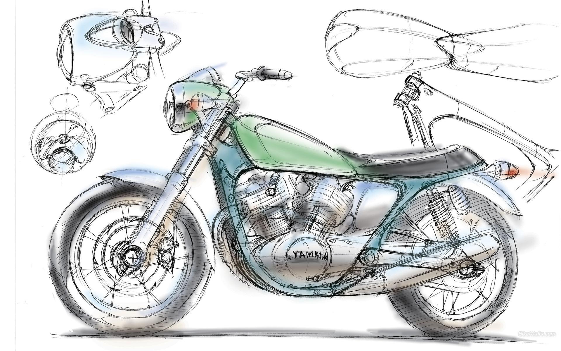 Yamaha clipart yama Sketch illustration Yamaha Yamaha Motorcycle