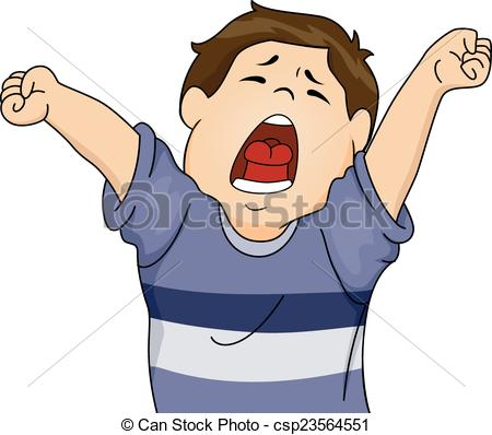 Yawn clipart black and white Boy Lethargic Out EPS a