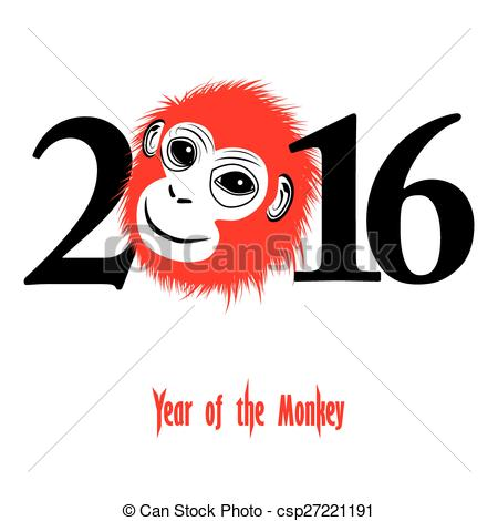 Year Of The Monkey clipart  2016 Vector 2016 Chinese