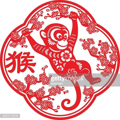 Year Of The Monkey clipart 2 Year papercut monkey art