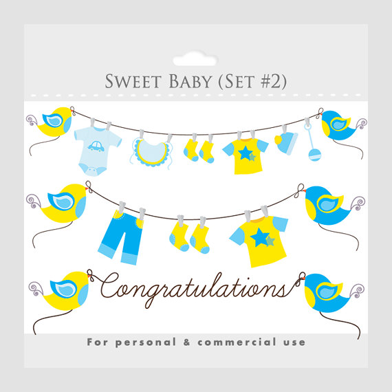 Yellow clipart baby clothes Art blue shower clip Baby