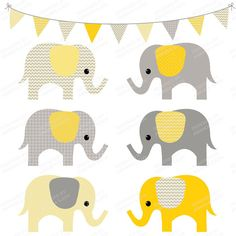 Yellow clipart baby elephant  Drawn Elephants Patterned Baby