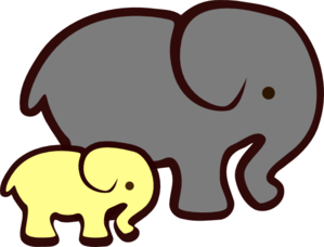 Yellow clipart baby elephant Vector Mom Yellow Clip Clip