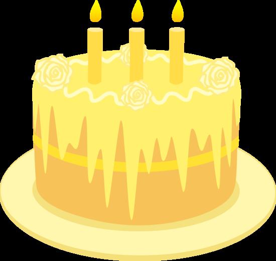 Yellow clipart birthday cake Free With Birthday Art Clip