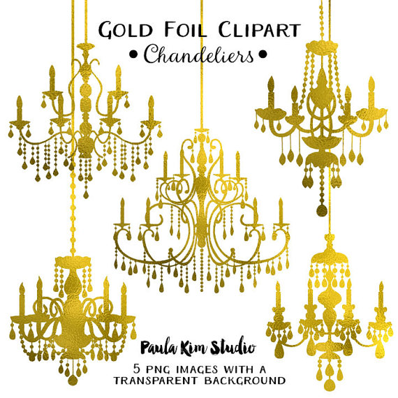 Chandelier clipart gold chandelier Wedding Gold Clipart Instant Commercial