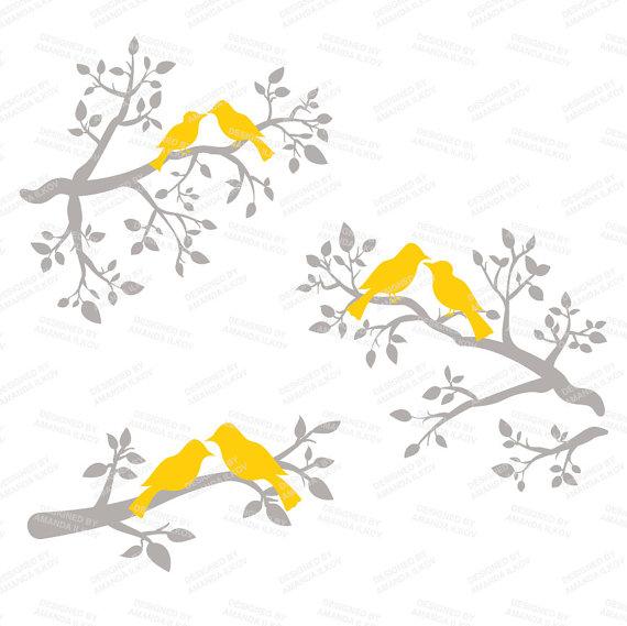 Yellow clipart love bird Vectors Art Premium Clip Birds