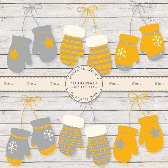 Yellow clipart mitten And Grey Professional Yellow Mitten