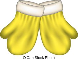 Yellow clipart mitten  mittens on in of