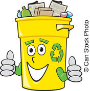 Yellow clipart recycle bin Bin Stock vector yellow 421