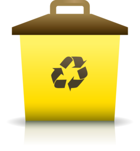 Yellow clipart recycle bin Clip com Recycling art Container