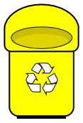 Yellow clipart recycle bin Yellow Clip Rounded Art Recycle