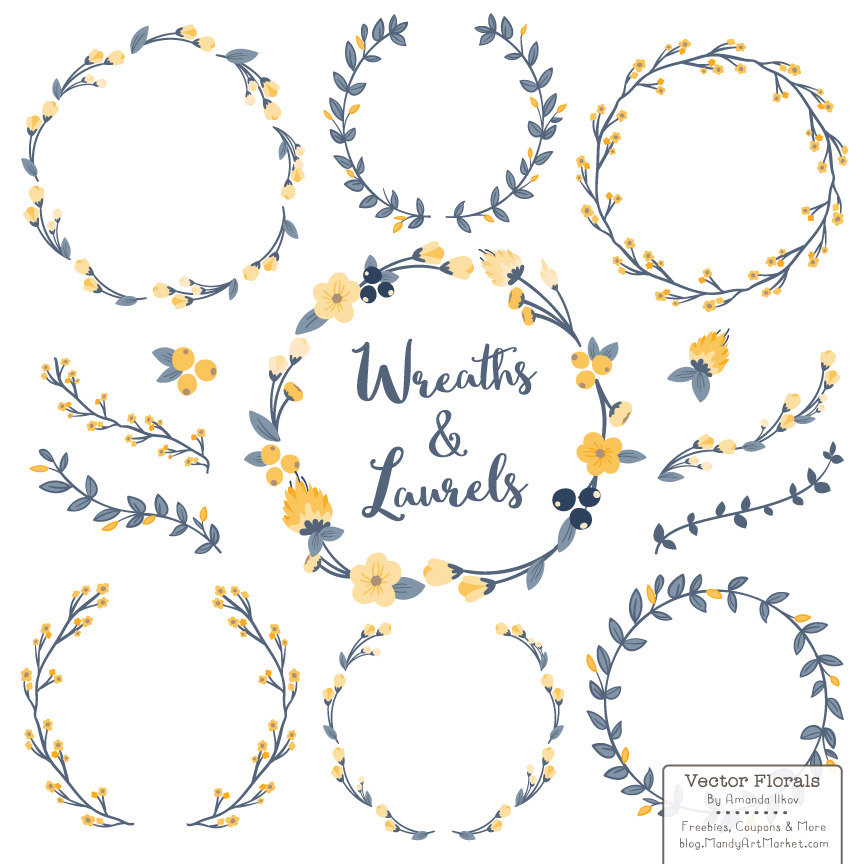 Yellow Flower clipart garland & in Laurels and Premium