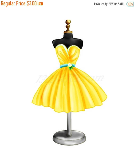 Yellow Dress clipart clothes OFF OFF Clipart digital 50%