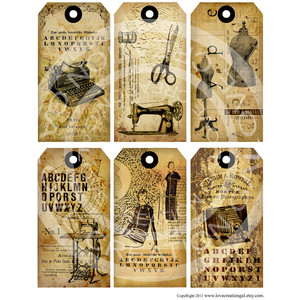 Yellow Dress clipart dress form Antique Clothes Tags Collage Dress