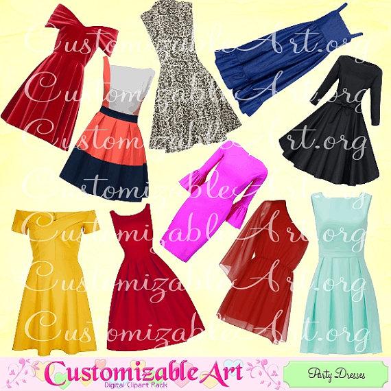 Yellow Dress clipart party dress Dress Digital Dress Set Pretty