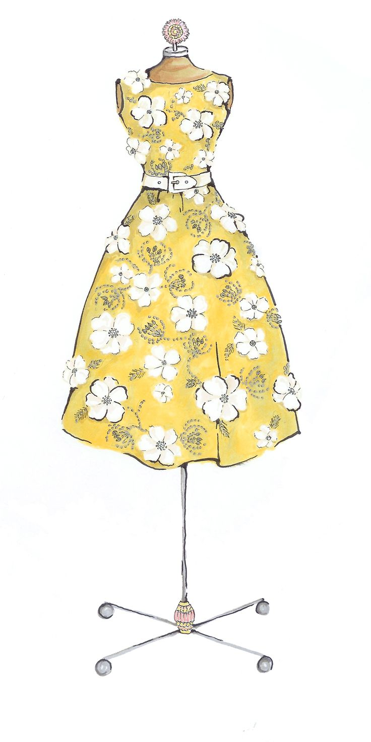 Yellow Dress clipart pretty dress Dress embroidered forms yellow by