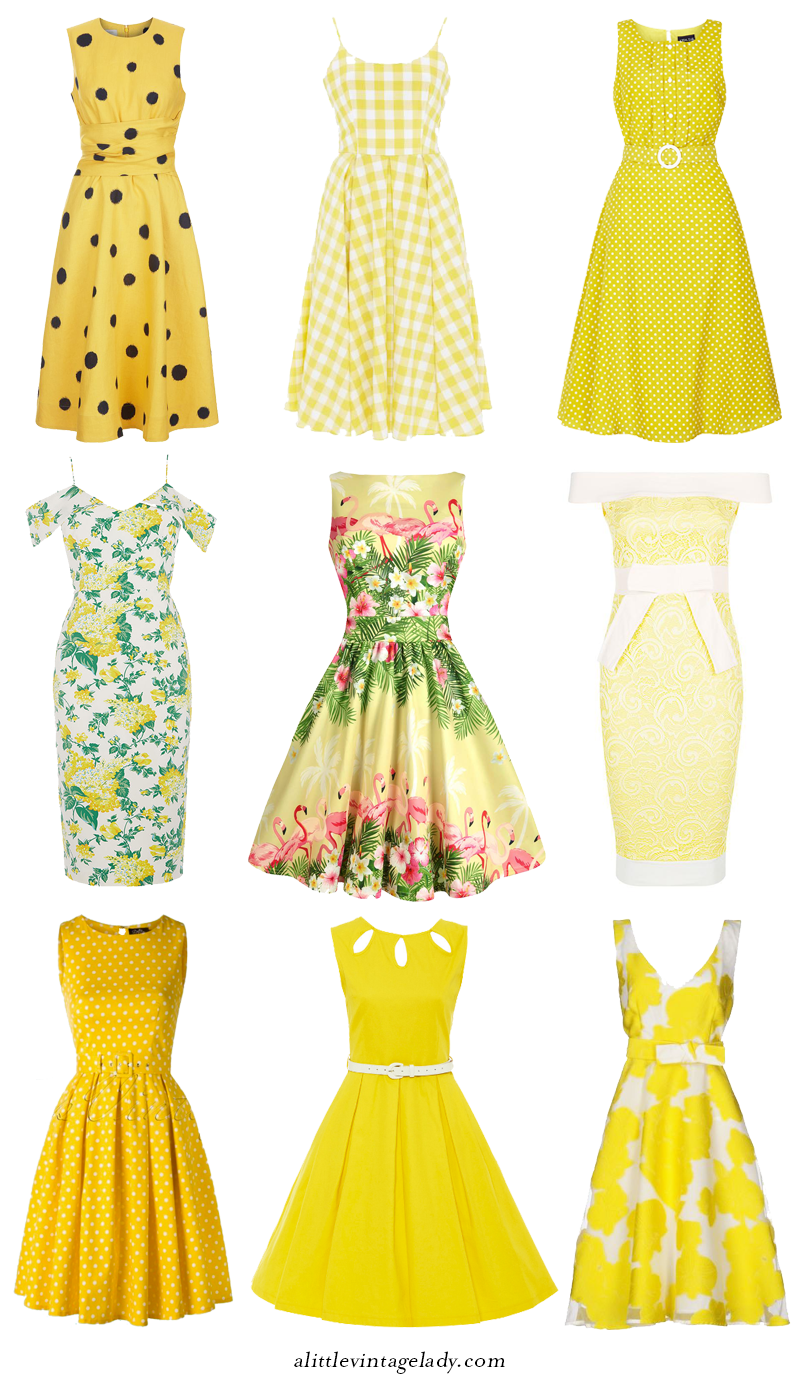 Yellow Dress clipart summer dress Yellow for Dresses Retro For