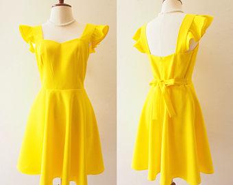Yellow Dress clipart sundress Dress Dress La Ruffle Back