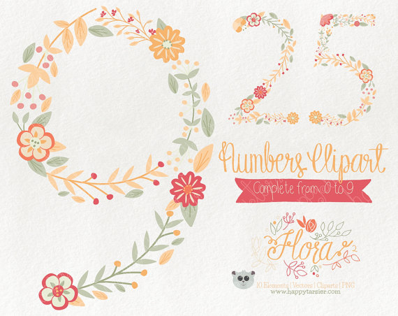 Yellow Flower clipart 70 flower Vector Coral Numbers  Art