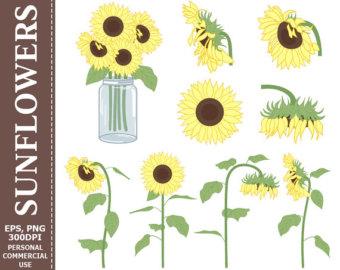 Yellow Flower clipart 70 flower Art Vector Brown Digital SALE