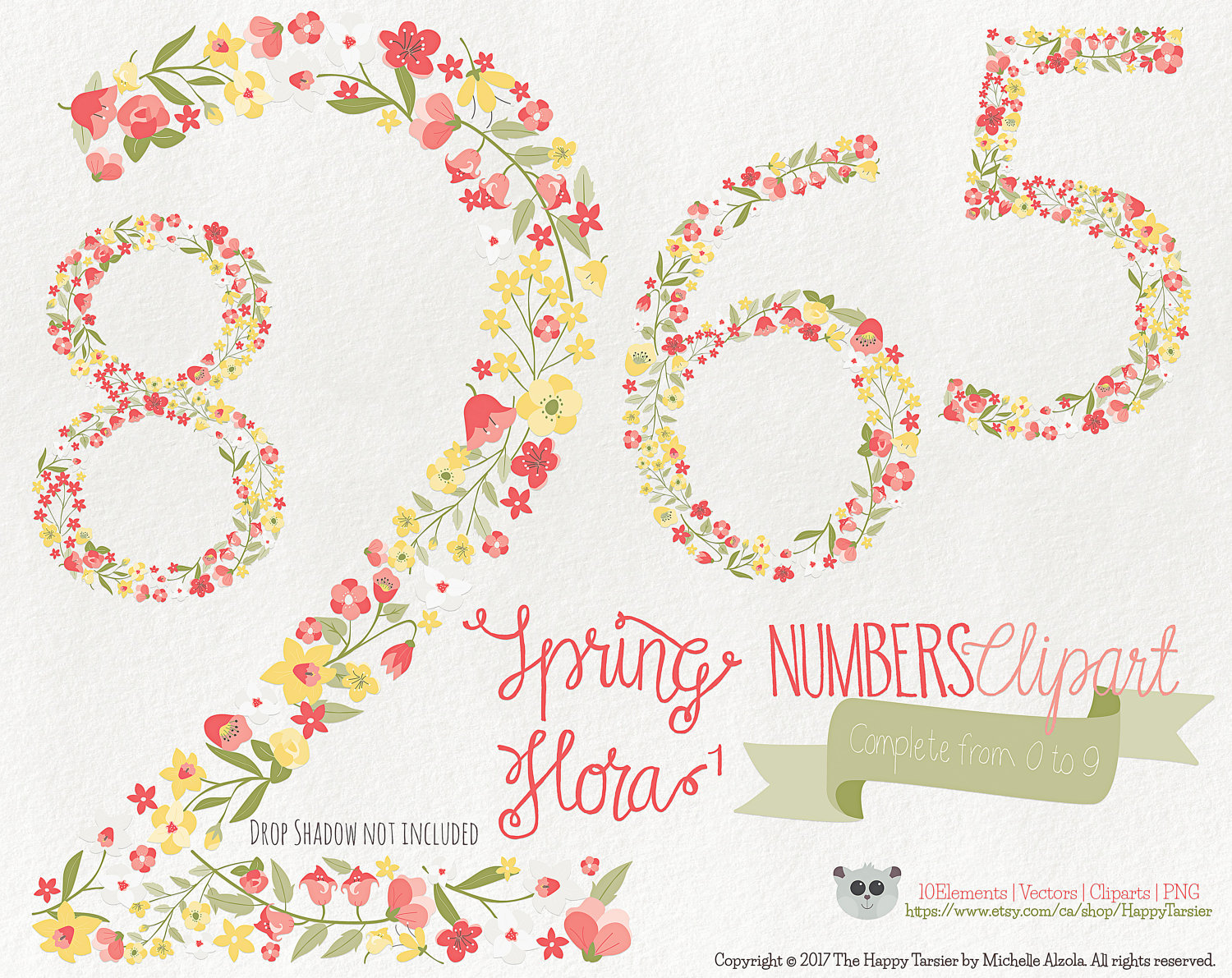 Yellow Flower clipart 70 flower Clipart Numbers digital 1 This