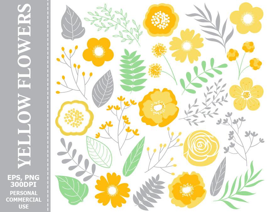 Yellow Flower clipart 70 flower Art 1  Fall Yellow