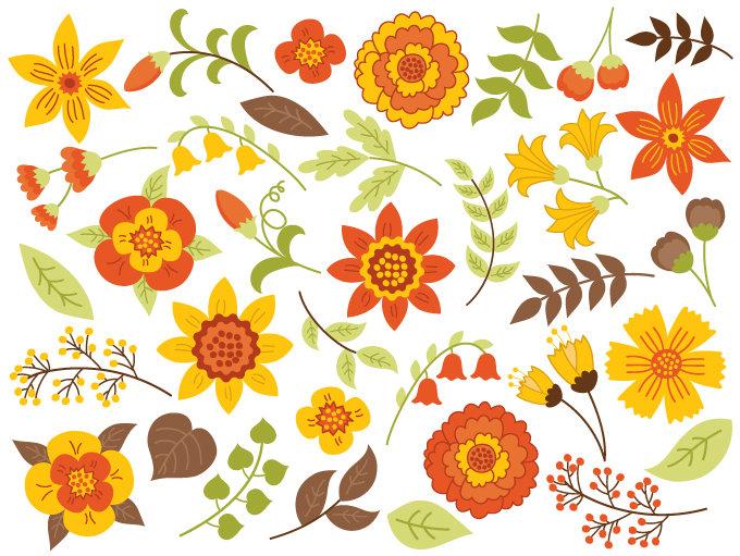Yellow Flower clipart 70 flower Flowers  SALE 70% Vector