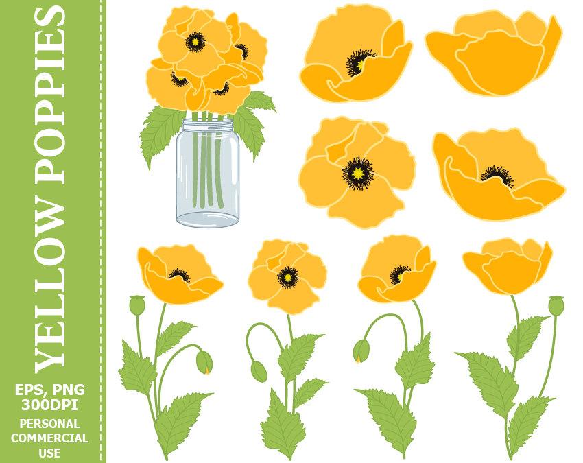 Yellow Flower clipart 70 flower Clip Poppies Green Digital SALE