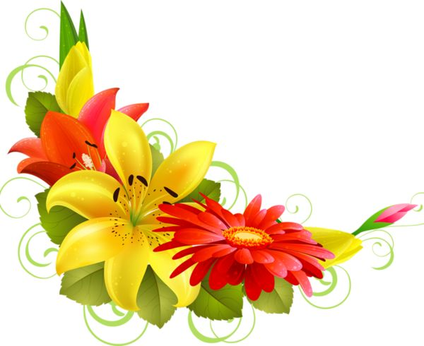 Yellow Flower clipart floral corner Images coin 114 on Pinterest