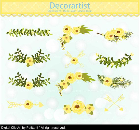 Yellow Flower clipart floral corner Flowers SALE corner flowers SALE