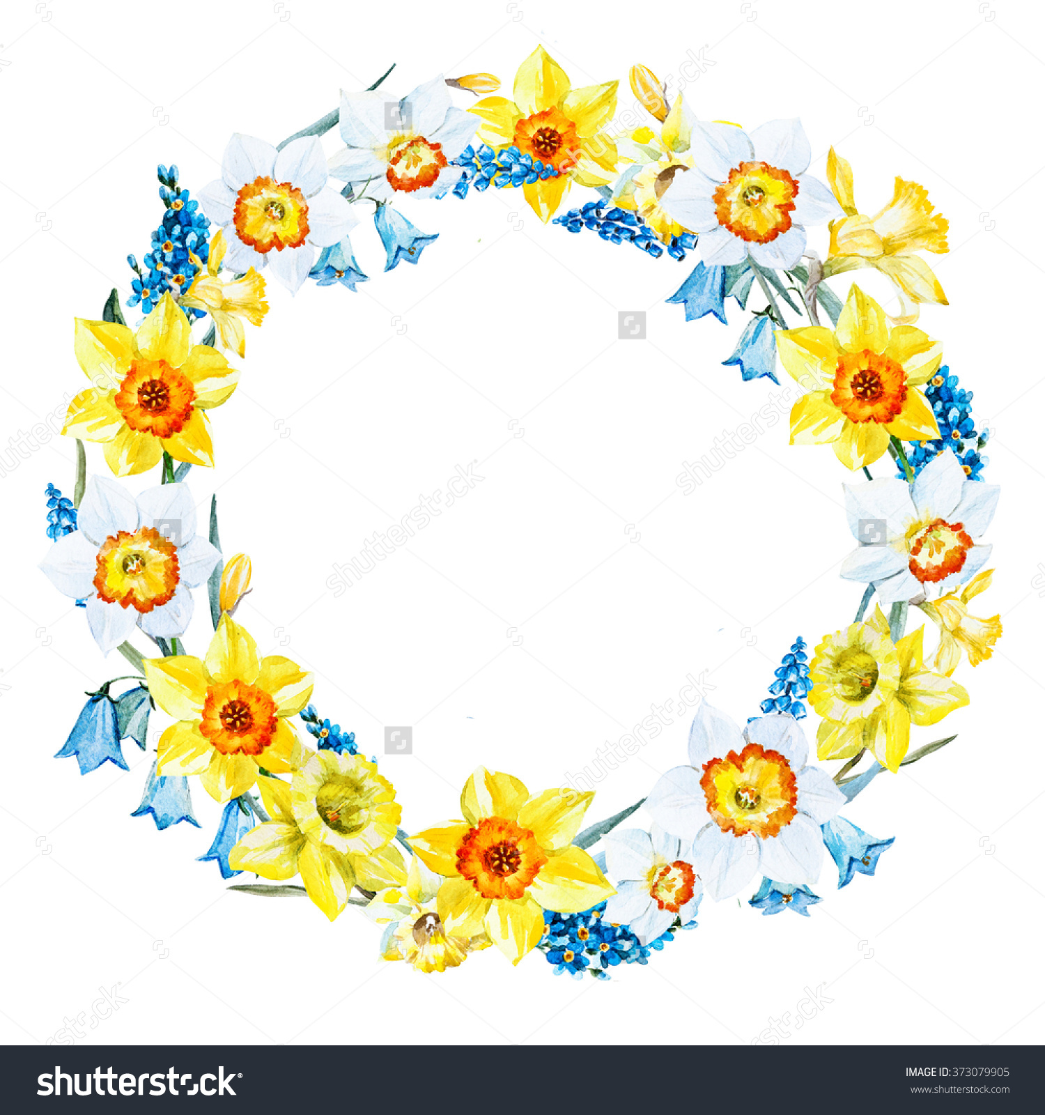 Yellow Flower clipart garland Watercolor on Art Find 373079905/stock