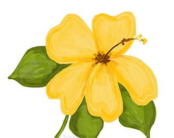Yellow Flower clipart hibiscus flower Flower clipart hibiscus art hibiscus