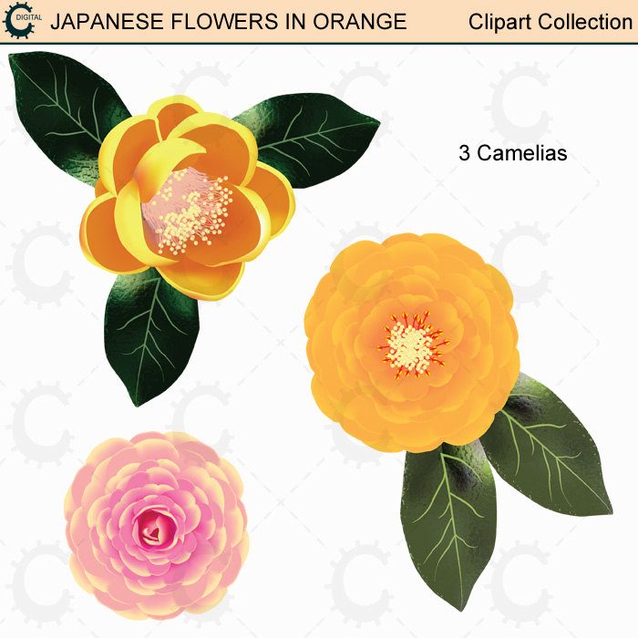 Yellow Flower clipart japanese Japanese Japanese Clipart digital Flower