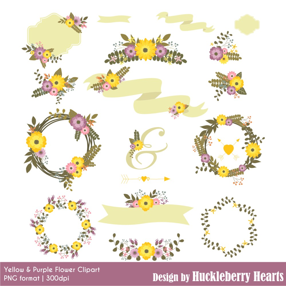 Yellow Flower clipart purple flower And Clipart Purple Clipart Purple
