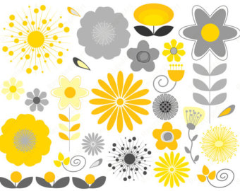Yellow Flower clipart scrapbook png Retro Download Art // Gray