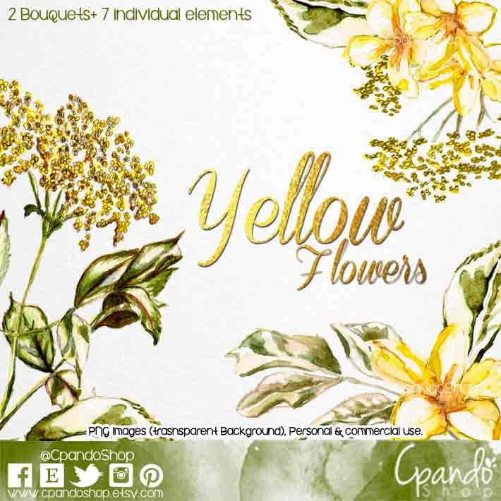 Yellow Flower clipart scrapbook png Watercolour files Yellow Floral Art
