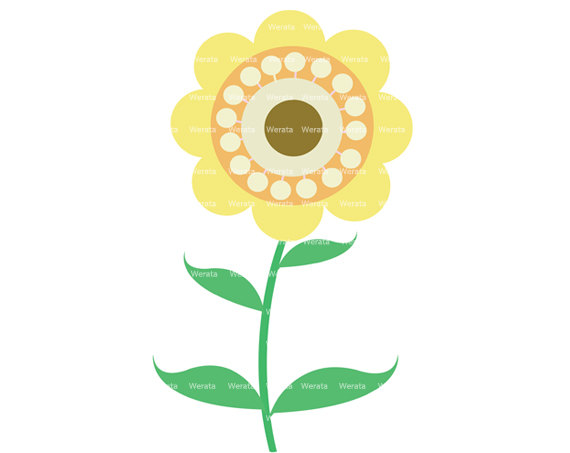 Yellow Flower clipart small plant Personal Items clip clip digital