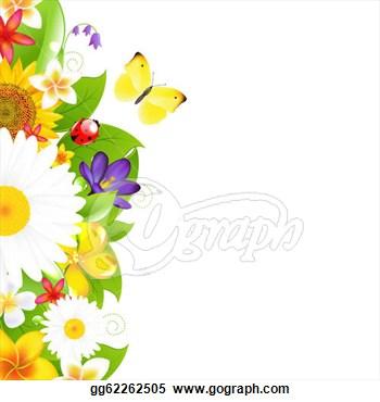 Yellow Flower clipart summer border Bay Border Flowers Clip Summer