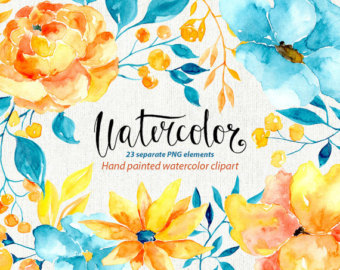 Yellow Flower clipart turquoise flower Yellow brown clipart: Watercolor flowers