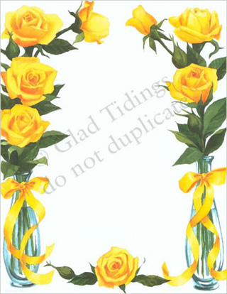 Yellow Rose clipart boarder Letterhead Roses Stationery 6889 Stationery