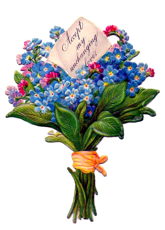 Simple clipart flower bouquet Pink bouquet antique Flower clipart