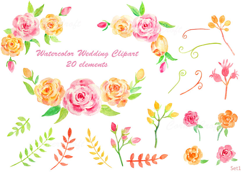 Yellow Rose clipart bud Yellow leaf clipart and pink