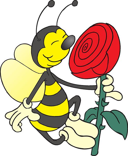 Yellow Rose clipart cartoon Art Bee Rose Cartoon