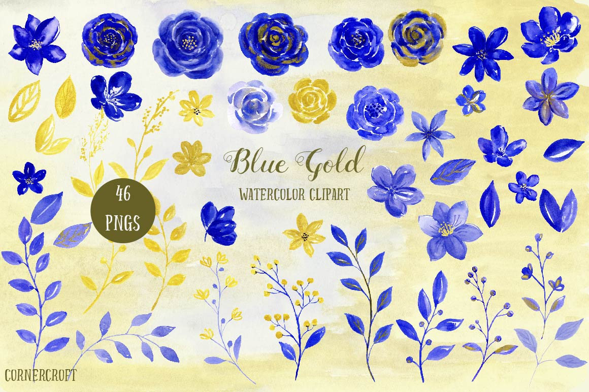 Yellow Rose clipart gold element Blue is clipart blue Gold